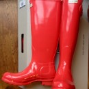 Bright Coral Tall Gloss Hunter Wellies