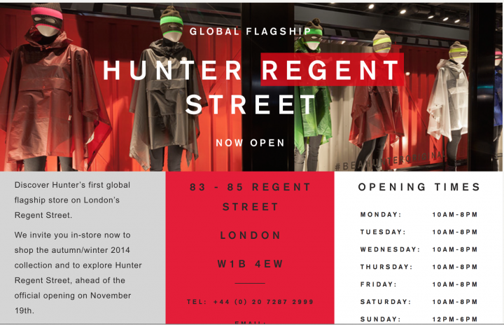 hunter store london info and store hours